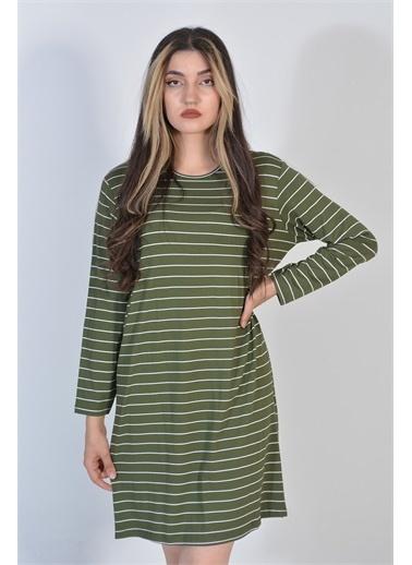 Zeren Kadın Yaşil Yatay Çizgili Salaş Tunik Yeşil